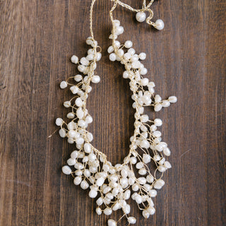 Gold Waxcord And Pearl Waterfall Necklace