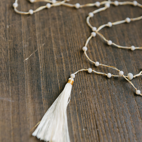 Simple Cream Tassel Necklace