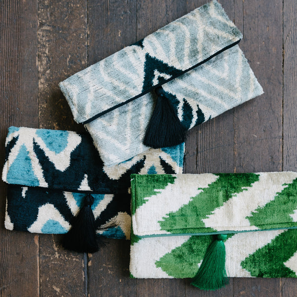 Green Chevron Clutch