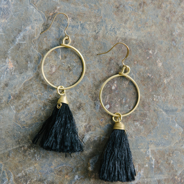 Gold Loop And Black Tassel Earrings