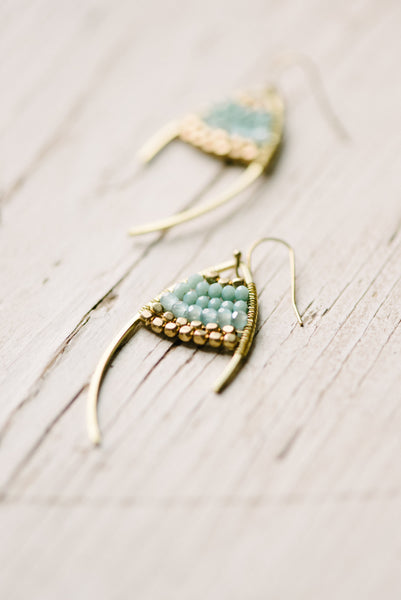 Teal And Brass Earring