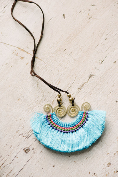 Blue Disc Tassel Necklace