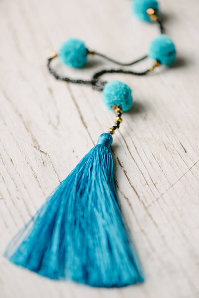 Blue Pom Pom Tassel Necklace