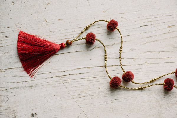 Red Pom Pom Tassel Necklace