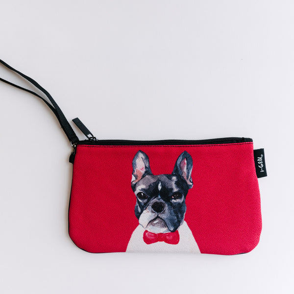 Red Boston Terrier Zip Bag