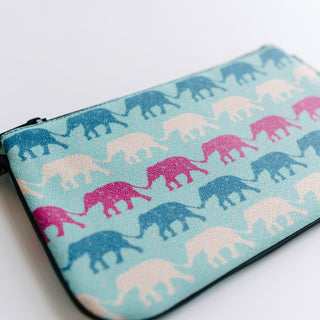 White, Blue And Pink Elephant Zip Bag