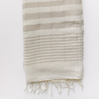 Beige And Cream Striped Turkish Towel