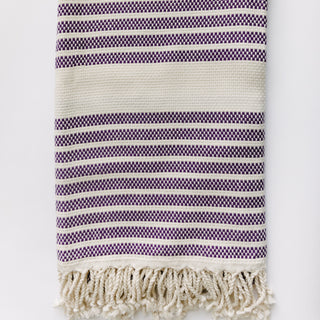 Purple And White Turkish Towel