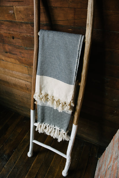 Black Diamond And Stripe Turkish Towel