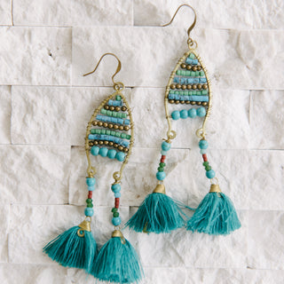 Turquoise Beaded Tassel Earrings