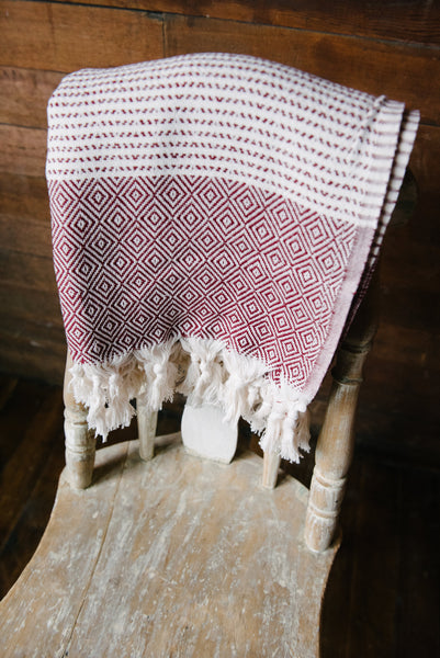 Maroon Diamond Turkish Towel