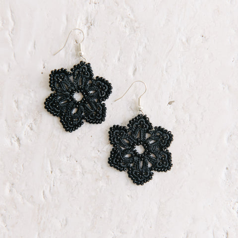 Black Crochet Polygon Earrings