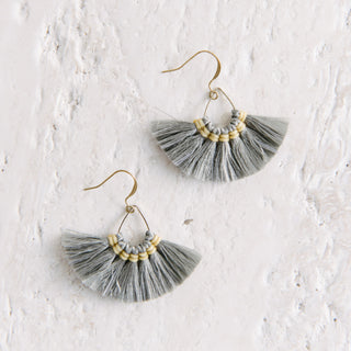 Gray Fringe Fan Earrings