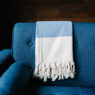 Blue Herringbone Turkish Towel