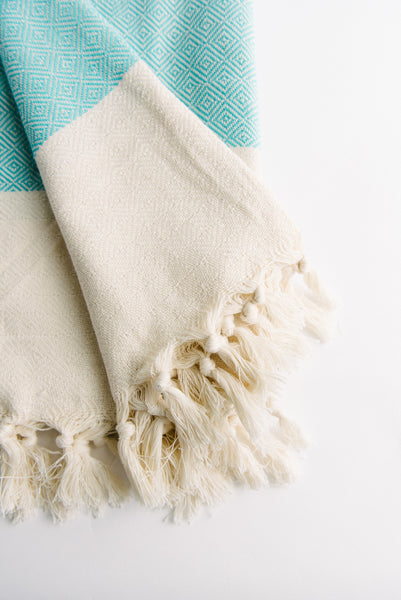 Teal Diamond Turkish Towel