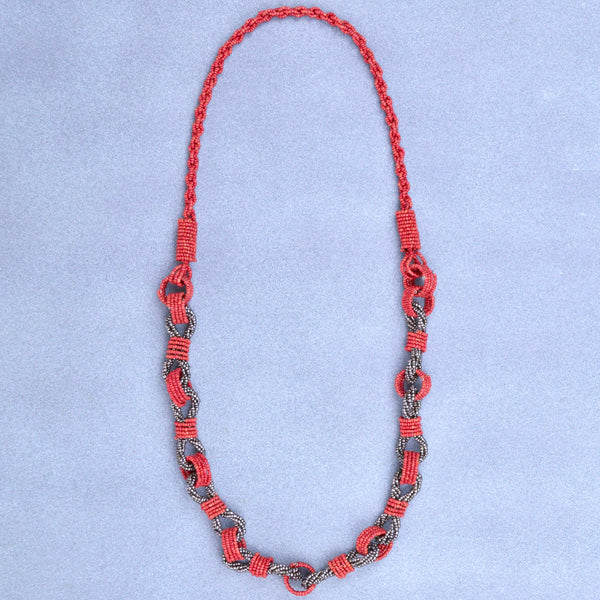 Red Seed Bead Chain Necklace