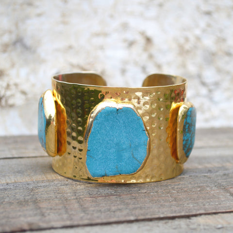 Turquoise Bead and Brass Cuff