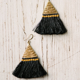 Black Triangle Fringe Earrings