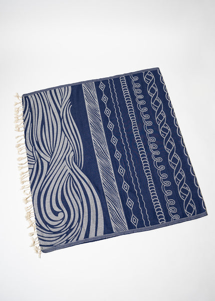 Navy Wave Turkish Towel