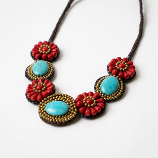 Coral And Turquoise Beaded Bib Necklace