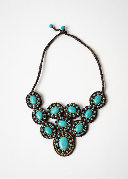 Turquoise and Purple Bib Necklace