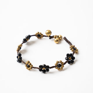 Black And Brass Flower Bracelet