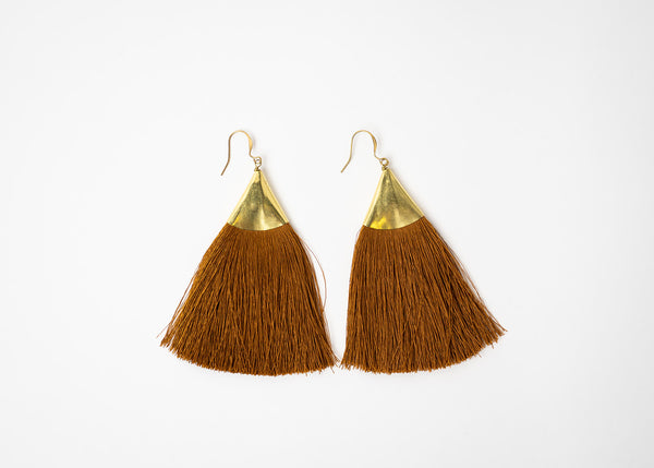 Brass Triangle Fring Earrings In Brown