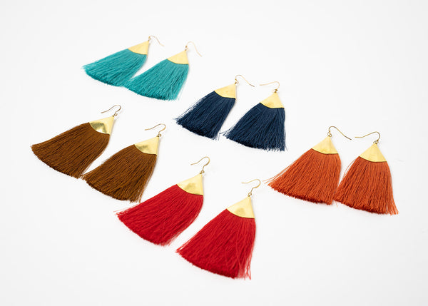 Brass Tringle Fringe Earrings in Red