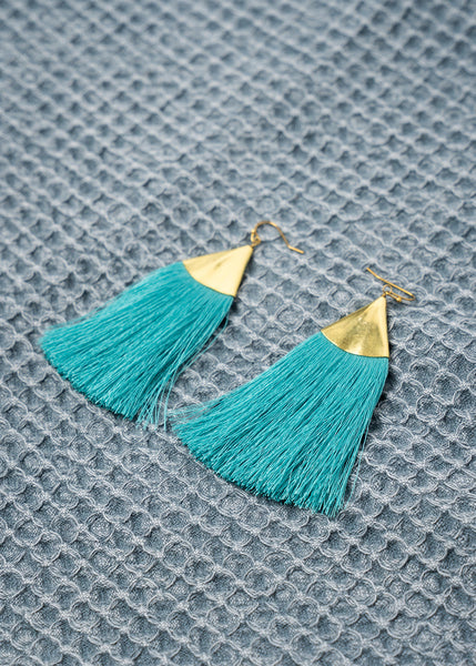 Brass Triangle Fringe Earrings in Teal
