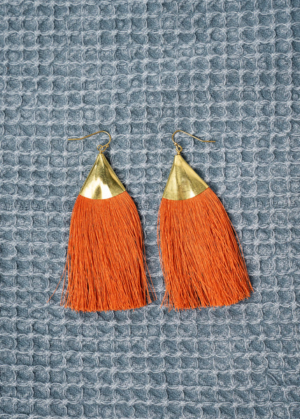 Brass Triangle Fringe Earrings In Burnt Orange