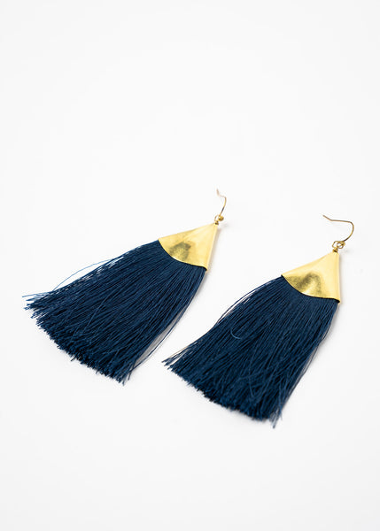 Brass Triangle Fringe Earrings in Navy