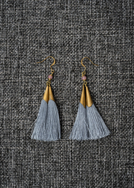 Double Gray Fringe Earrings