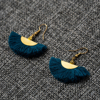 Small Half Moon Blue Earrings