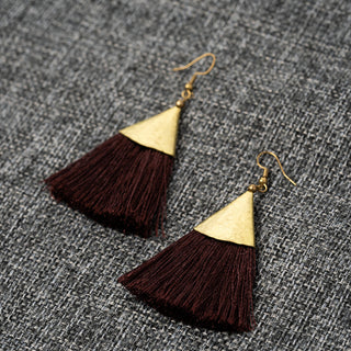 Short Traingle Fringe Earrings