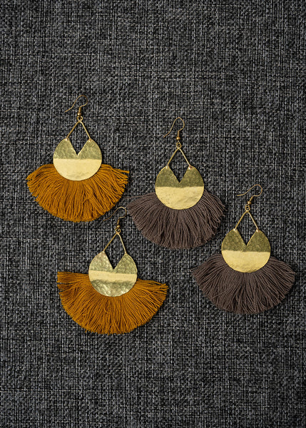 Brown Pacman Fringe Earrings