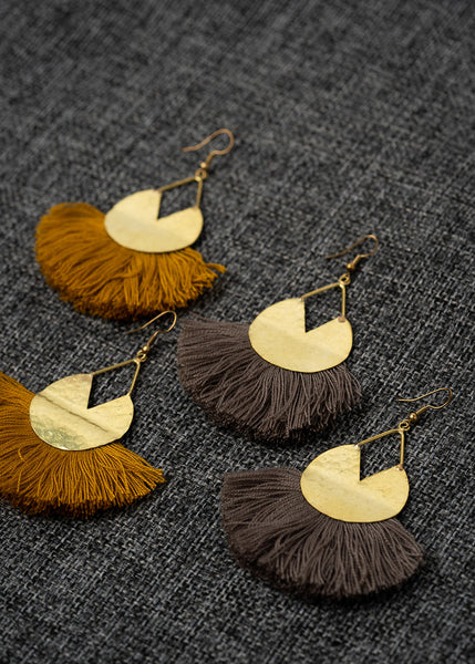 Tan Fringe Pacman Earrings