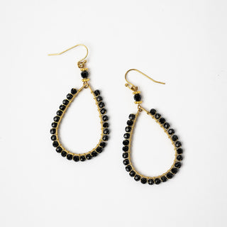 Black Beaced Oval Earrings