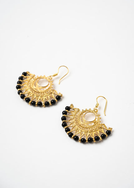 Turkish Brass And Black Beaded Earrings