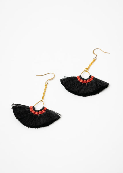Small Black Fringe Earrings