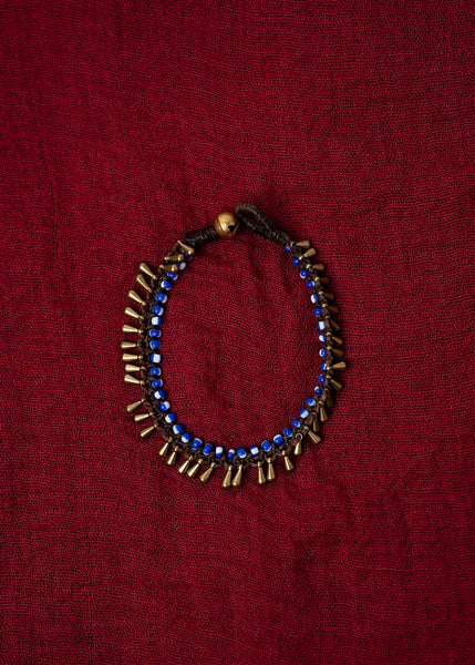 Blue And White Beaded Bracelet With Brass Fringe