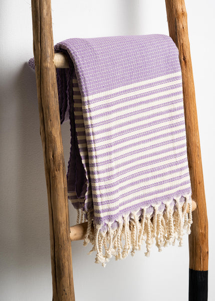 Purple Striped Turkish Towel