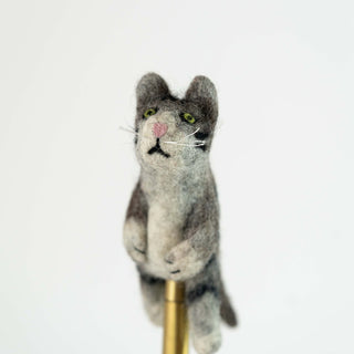 3D Grey Cat Finger Puppet