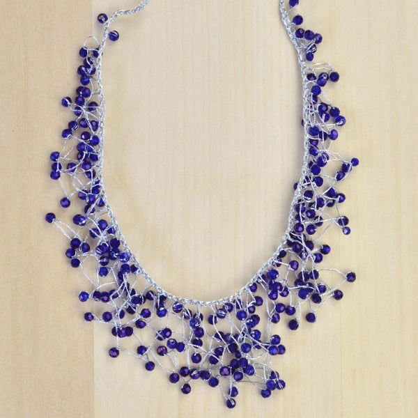Silver Wax Cord and Blue Bead Necklace