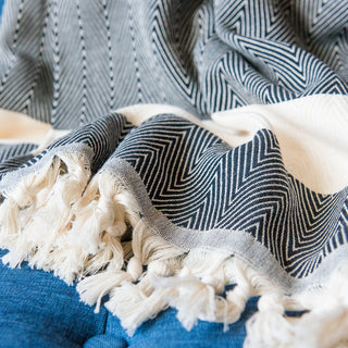 Black And White Turkish Towel Blanket