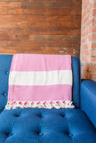 Pink And White Turkish Towel Blanket