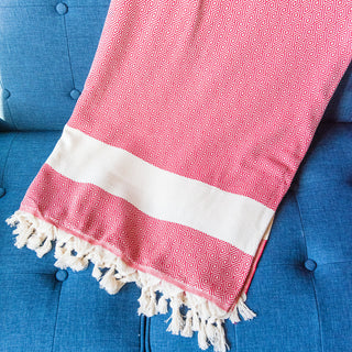 Red And White Turkish Towel Blanket