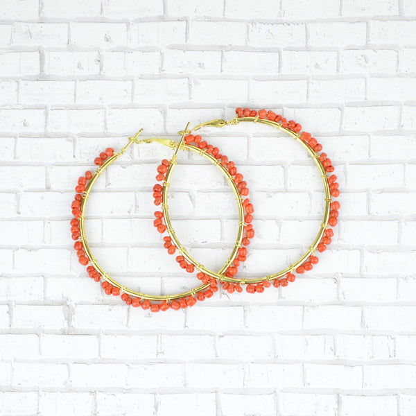 Hand crafted Orange and Gold Hoop Earrings