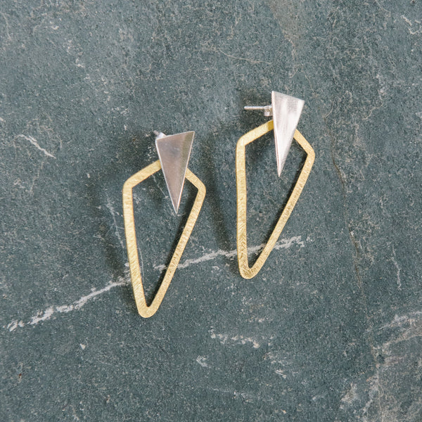Gold And Silver Geometric Earrings