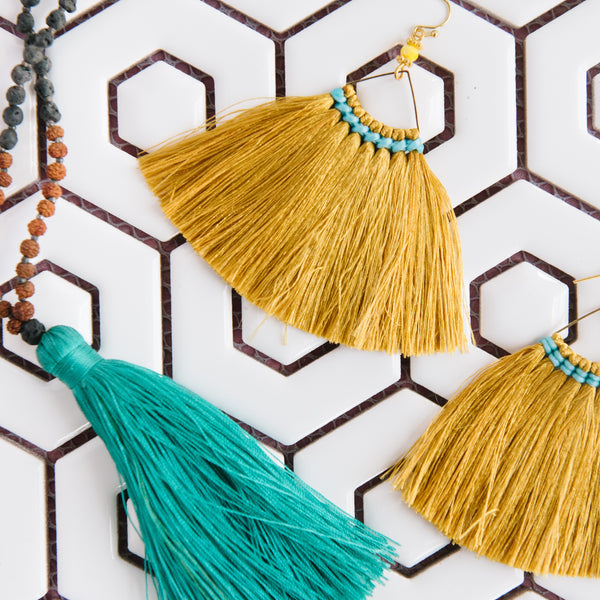 Wide Triangle Fringe Earrins in Gold