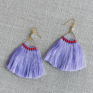 Wide Traingle Fringe Earrings in Purple